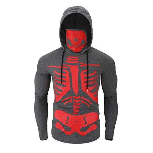 Heren Hooded Sweatshirts Halloween Masker Schedel Print Pullover Sweatshirts Tops Lange Mouw Hoodie Tops, Mode Nieuwigheid Mannen Hoodie Sweatshirts