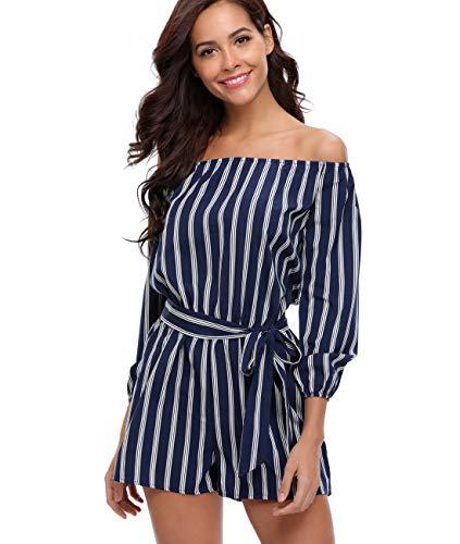 MISS MOLY Damen Spielanzüge Blau und Weiß Gestreift Schulterfrei Langarm Mode Kurze Frauen Overall Schnürband Vorne - XL