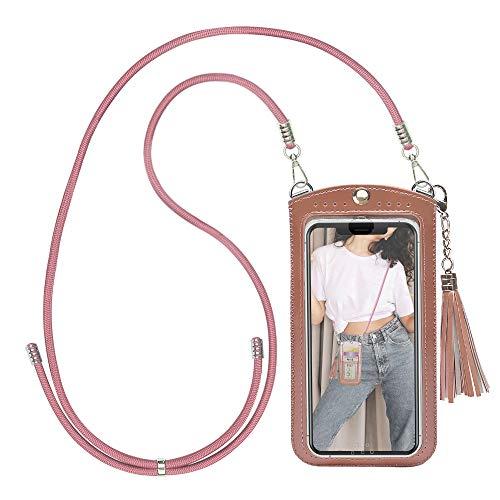 takyu Handytasche zum Umhägen, Mini Damen Crossbody Umhägetasche für Handy unter 6,5 Zoll(L,Pink)
