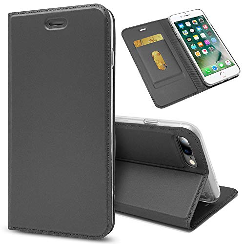 NALIA Flip Case Compatible with iPhone 8 Plus / 7 Plus, Phone Cover Ultra-Thin Magnetic Leather Back & Front Protector, Kickstand Slim Protective Bookcase Shockproof Full-Body, Color:Black Grey
