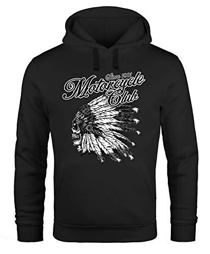Neverless Hoodie Herren Indianer Totenkopf Indian Skull Biker Motorrad Kapuzen-Pullover schwarz M