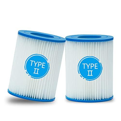 woejgo Cartuccia Filtro per Piscina per Bestway Taglia II, cartucce filtranti per Piscina la Pulizia della Piscina, Misura 2 Cartuccia del Filtro della Vasca idromassaggio, 2 Pezzi