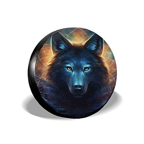 Lewiuzr Galaxy Wolf with Planets Cubierta de neumático de Repuesto Protector Solar de poliéster Cubiertas de Rueda Impermeables Ajuste Universal