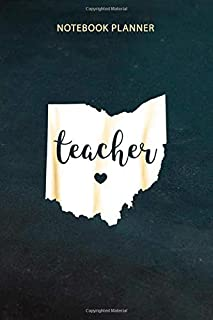 Notebook Planner Teacher Red For Ed Ohio Public Education: Daily Journal, 6x9 inch, Schedule, Planning, Do It All, Daily, ...