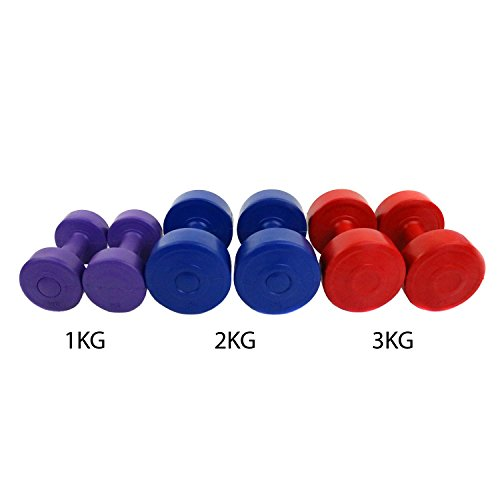 Oypla 12kg Vinyl Hand Dumbbell Workout Weight Set Including Stand