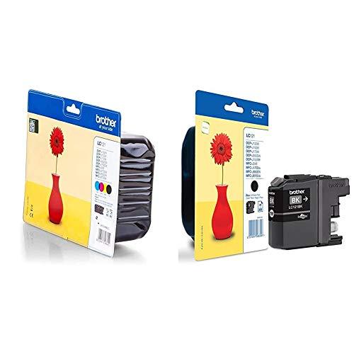 Brother LC121VALBP - Cartucho de tinta, multi-pack (negro, amarillo, magenta, cian) + LC121BK - Cartucho de tinta para impresoras, negro