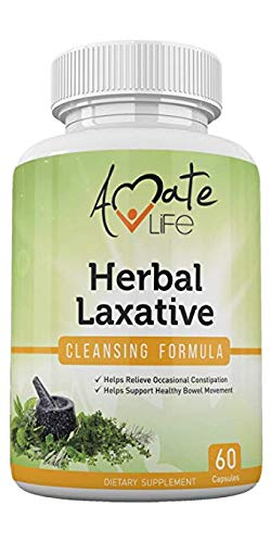 Herbal Laxative Cleansing Formula All-Natural Laxative Capsules Help with Occasional Constipation Promotes Regularity Probiotics Source Healthy Digestive System Non-GMO 60 Capsules by Amate Life