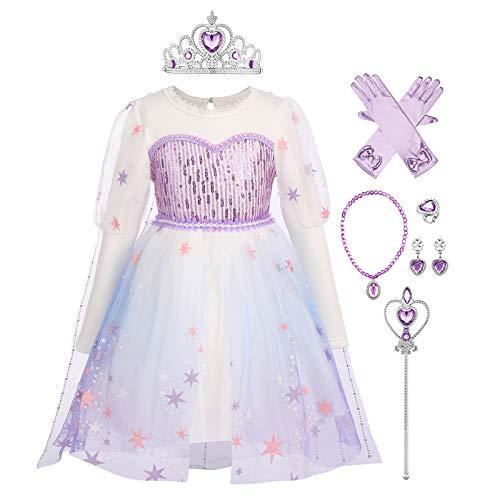 Disfraz de princesa para nias y bebs, de reina de nieve, de hada, para cosplay, de invierno, de manga larga, con lentejuelas, de tul para vacaciones, accesorios