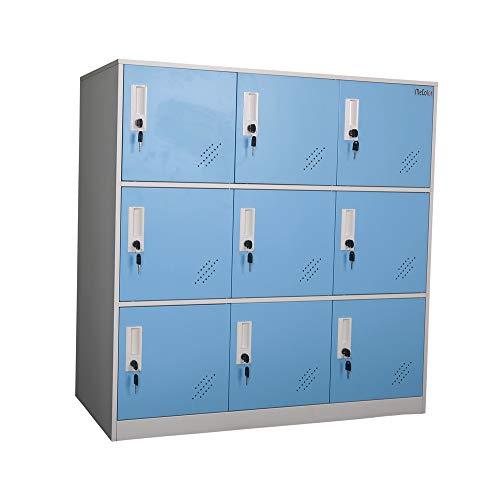 MECOLOR - Armario de metal para oficina (tamaño pequeño), recubrimiento en polvo, azul, 9D