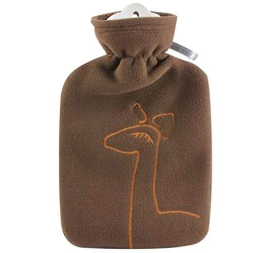 Hot Water Bottle with Cover - Hot Cold Pack Made of Burst Resistant Thermoplastic with Fleece Sleeve Helps Relieve Muscle Aches & Pains, Menstrual Cramps (1.8 L Brown Deer Application)