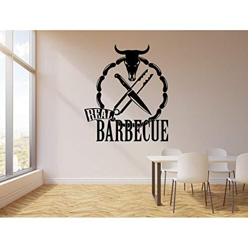 Wandaufkleber Restaurant Rinder Kopf Gekochtes Essen Aufkleber Echten Grill Stierkopf Messer Wandaufkleber Abnehmbare Dening Room Decor Wandbild