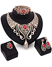 Women's Alloy Crystal Necklace/Bracelet/Earrings/Ring Jewelry Set
