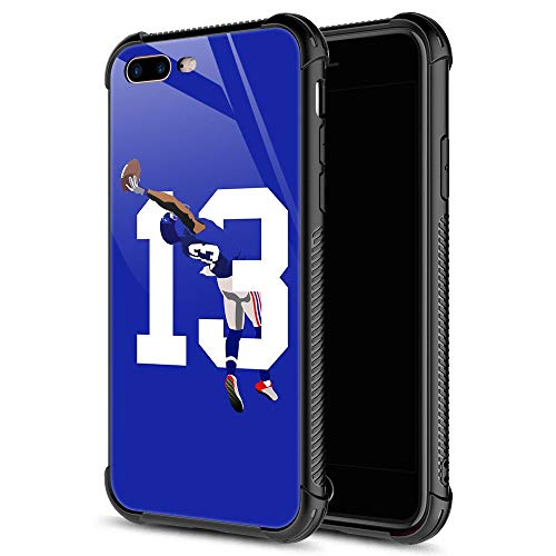 iPhone 8 Plus Case,13 Odell Catch Football iPhone 7 Plus Cases for Girls Boys,9H Tempered Glass Graphic Design Shockproof Anti-Scratch Tempered Glass Case for Apple iPhone 7/8 Plus