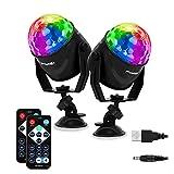 FIMEI Luces Discoteca 2 PCS, Bola Discoteca con 2M Cable USB, Activadas por Sonido con Control Remoto Bola de Discoteca 7 Colores RGB para KTV Navidad...