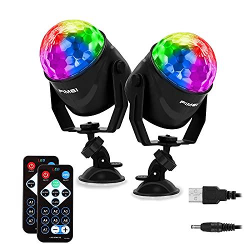 FIMEI Luces Discoteca 2 PCS, Bola Discoteca con 2M Cable USB, Activadas por Sonido con Control Remoto Bola de Discoteca 7 Colores RGB para KTV Navidad Fiesta Boda Discoteca DJ