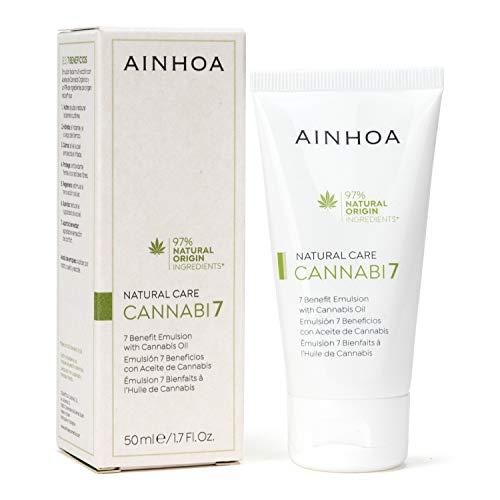AINHOA Cosmetics – CANNABI7 Emulsión 7 Beneficios con Aceite de Cannabis 50 ml – Crema facial Piel Normal/Mixta con Cáñamo – Cosmética Natural para Mujer/Hombre - Día/Noche- Calidad Profesional