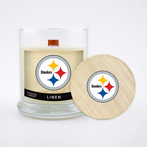 Worthy Promo NFL Pittsburgh Steelers Linen Scented Soy Wax Candle, Wood Wick and Lid, 8 oz