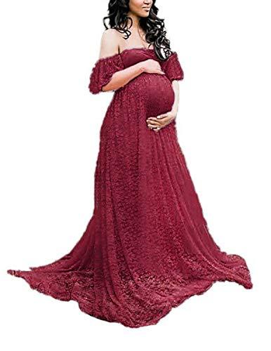 BUOYDM Mujer Vestido Embarazada de Fiesta Largos Foto Shoot Dress Fotográficas de Maternidad Apoyos De Fotografía (S, Rojo)