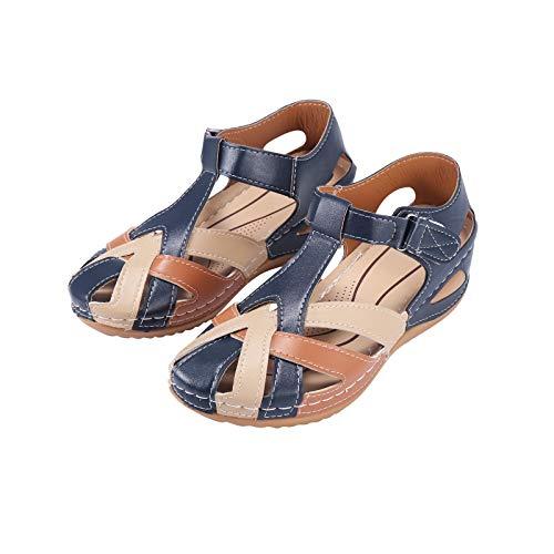 Winging Zapatos De Mujer Con Velcro Hueco Y Sandalias De Mujer De Tacón De Cuña De Talla Grande Zapatos De Belleza De Estilo Nuevo Sandalias De Mujer 37-42Eu Material De Pu