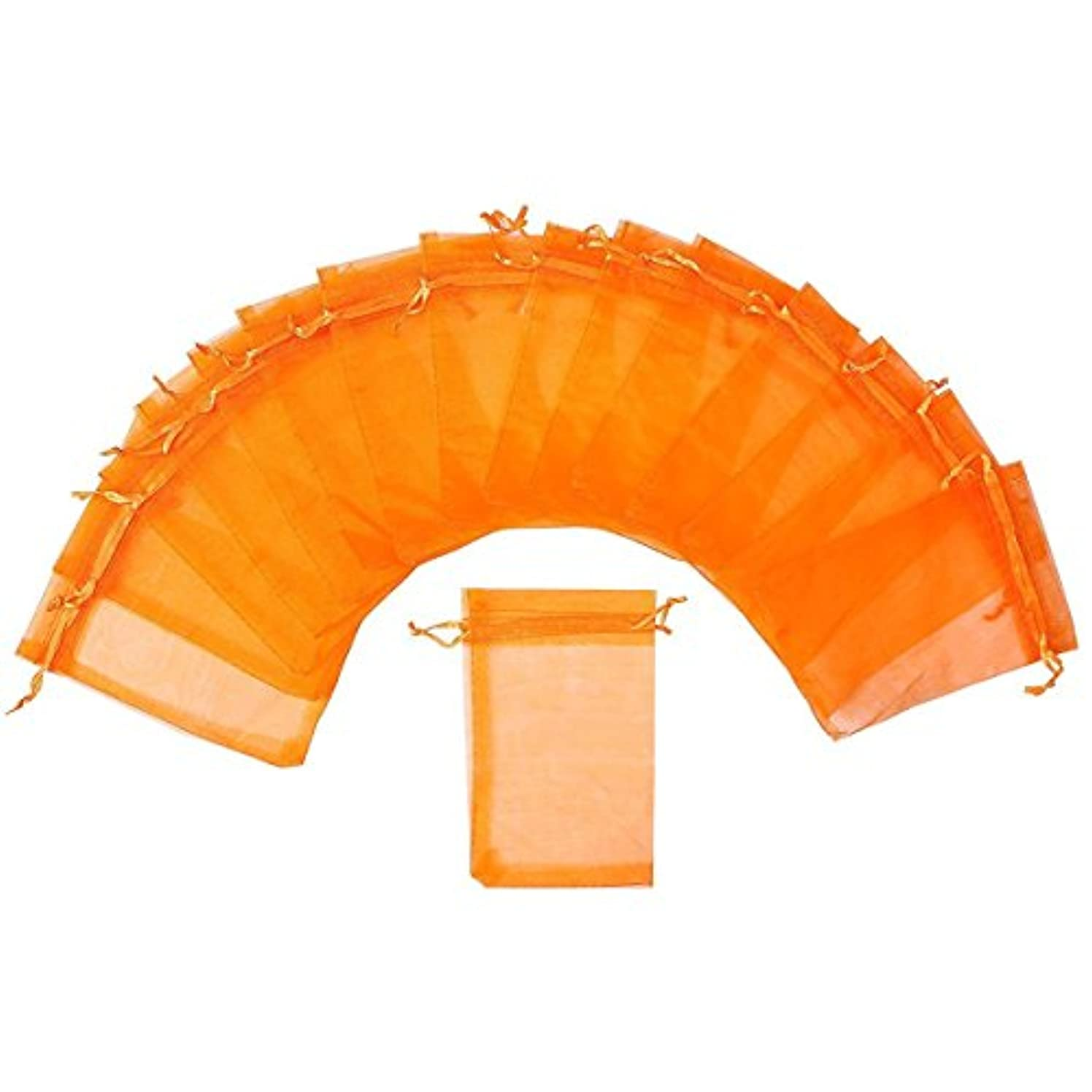 Tvoip Drawstring Organza Jewelry Pouches Wedding Party Festival Gift/Candy Bags (Pack of 100) (Orange)