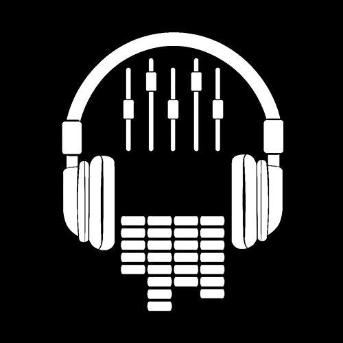 MCTYLI 11.4CM*14.3CM Koptelefoon Decal Muziek Dj Rock Vinyl Zwart/Zilver Auto Sticker