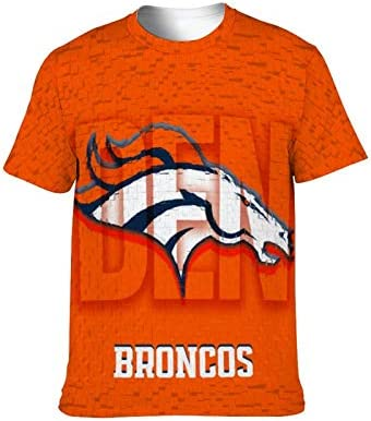 Football Team Logo Denver Broncos T Shirts with Team Color Tees Crew Neck Sports Tops for Unisex product image