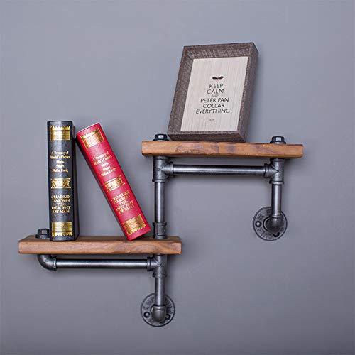 Hensdd 3-laags Rustiek Zwevende Wandplank, Vintage Retro Industrieel Echt Hout IJzeren Pijp Planken voor Slaapkamer Office Decor