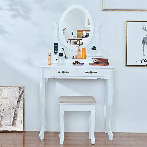 EPHEX Schminktisch mit Spiegel und Hocker, Kosmetiktisch mit Schubladen und Kosmetik Aufbewahrung Organizer, Frisiertisch Make-up Tisch Schminktisch-Set, weiß, 75 x 40 cm