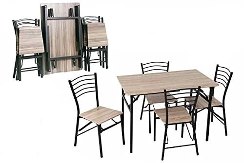Set Tavolo Pieghevole Salvaspazio con Sedie, Tavolo Pieghevole in Legno con Struttura in Metallo e Piani in Legno (Tavolo Pieghevole + 4 Sedie Noce Chiaro)