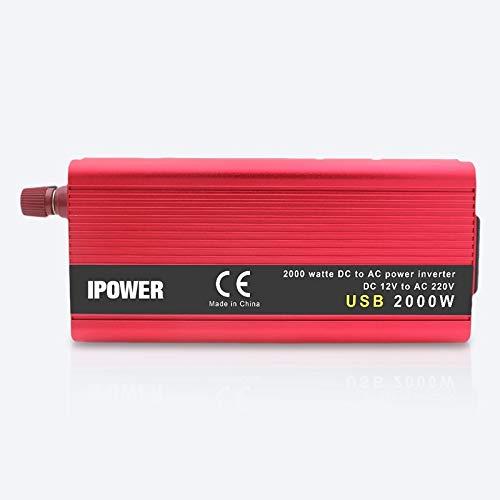 Inversor Adaptador USB Dual Power Inverter 2000W vatios convertidor DC 12V 24V for AC110V 220V portátil de onda sinusoidal modificada inversor de la energía del coche Inversores de corriente