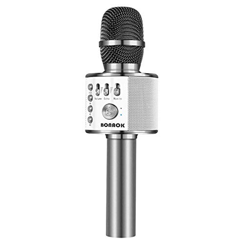 BONAOK Bluetooth Wireless Microphone,3-in-1 Portable Handheld Karaoke Mic Speaker Machine Birthday Home Party for Android/iPhone/PC or All Smartphone (Space Gray)