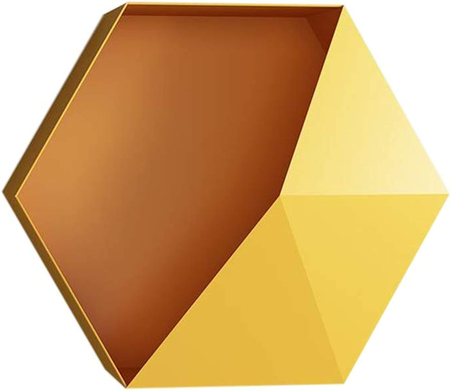 JCAFA Shelves Hexagonal Geometric Iron Metal Wall Shelf Hanging Decoration for Living Room Storage Floating Shelves Wall Mount (color   Yellow, Size   15.74  4.72  13.58in)