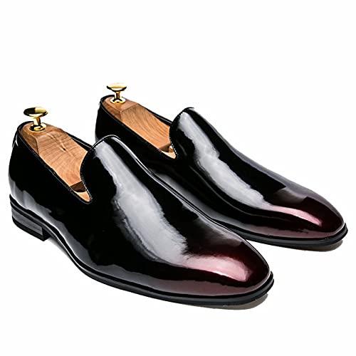Zapatos Busienss para Hombre Mocasines con Punta Puntiaguda de Charol Ligero Impermeable Zapatos Formales para Fiesta de Boda Zapatos de Vestir sin Cordones