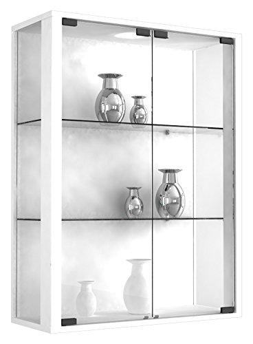 VCM Wandvitrine Sammelvitrine Glasvitrine Wand Vitrine Regal Schrank Glas Hängevitrine mit LED-Beleuchtung Weiß