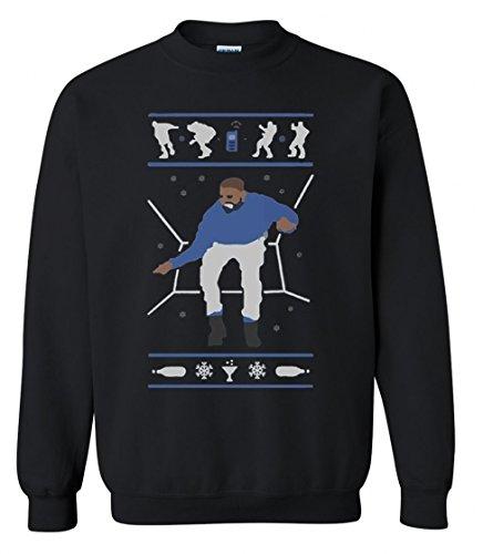 Adult Unisex Men's Women's Hotline Bling Drake Ugly Christmas Sweater Crewneck (Large, Black)