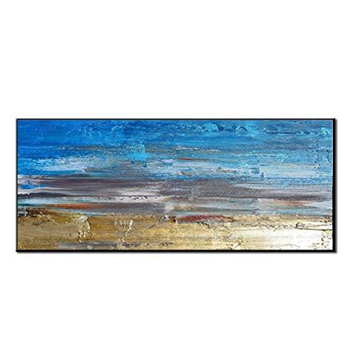Pintura Al Óleo Pintada A Mano,Pintura Al Óleo Pintado A Mano Puro Tamaño Grande Abstracto Minimalista Moderno Retro Playa Azul Arte Mural De Fondo La Pintura De Aceite Para El Hogar Salón Decoración