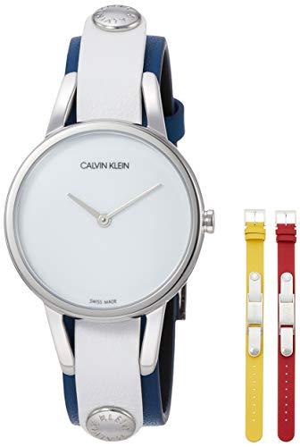 Reloj de Calvin Klein, de 32 mm de Acero Inoxidable Correas de Reloj de Cuero Azul Rojo Amarillo K9D231VX