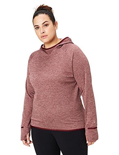 Amazon Brand - Core 10 Women's Plus Size Be Warm Thermal Fitted Run Hoodie (XS-XL, Plus Size 1X-3X), Merlot Heather, 2X (18W-20W)