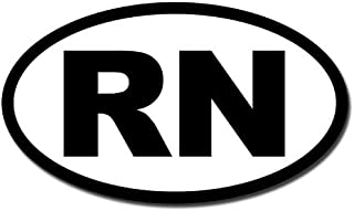 American Vinyl BW Oval RN Sticker (Registered Nurse car Decal)