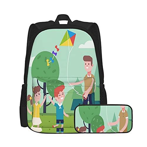 Mochila escolarPadre jugando con niños y cometas voladoras al aire libre ecológico, Mochilas para niños, adolescentes, estudiantes universitarios y estuches para lápices, juegos de dos piezas.