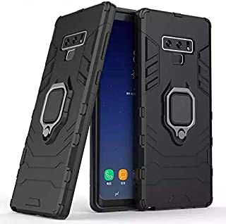 Samsung galaxy note 9 armor iron man case cover with magnetic holder ring stand black