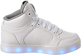 Skechers Kids Boys Energy Lights Sneaker,5 M US Big Kid,White