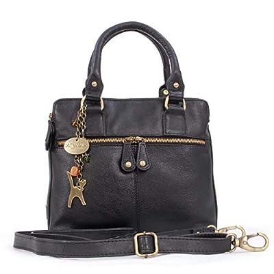 CATWALK COLLECTION - Cuir Vintage - Sac porté épaule avec Bandoulière réglable et détachable/Besace/Sac à Main/Sac Porté Croisé - Compatible avec iPad/Tablettes - Femme - VICKY - Noir