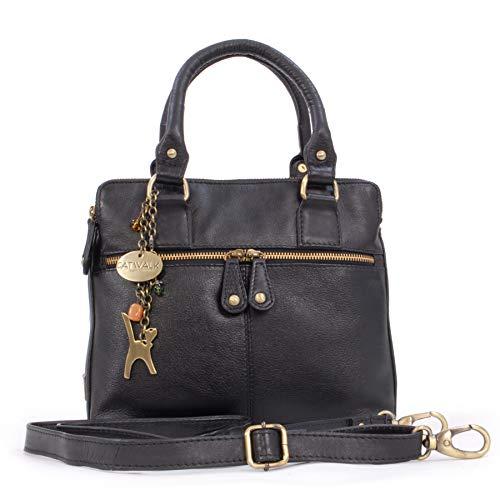Catwalk Collection Handbags - Leder - Schultertragetasche/Umhängetasche/Shopper/Tote - Handtasche mit Schultergurt - VICKY - Schwarz