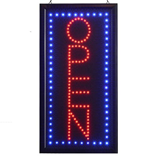 LED Open Sign?10x19inch Vertical Light Up Sign LED Business Open Sign Advertisement Board Electric Display Sign Flashing & Steady Mode Electronic Lighted Signs for Business, Walls, Window, Shop, Bar,