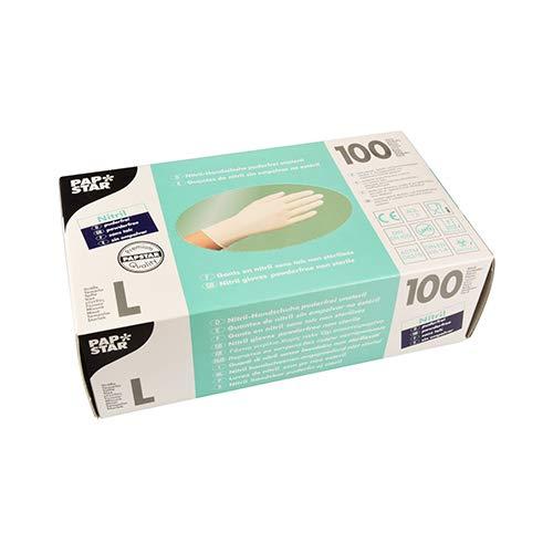 PAPSTAR Handschuh, unsteril, Nitril, puderfrei, Größe: L, weiß (100 Stück), Sie erhalten 1 Packung á 100 Stück