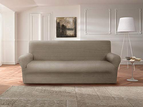 Casarredo Copridivano Sofà in Puro Cotone Elasticizzato (Tortora, Divano 3 posti (da 180 cm a 250 cm))