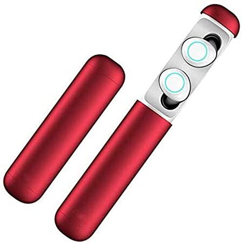 Auriculares Bluetooth, Auriculares Bluetooth inalámbricos TWS 5.0 Reducción de Ruido Táctiles Binaural Auriculares Deportivos, Auriculares inalámbricos con micrófono Negro (Color : Red)