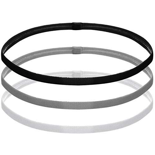 Chstarina 3 Stück Sport Stirnbänder Elastische Haarbänder rutschfeste Kopfbänder für Damen Herren Anti-Rutsch Dünn Sport Schweißbänder für Laufen Yoga Joggen (Schwarz Grau Weiß)
