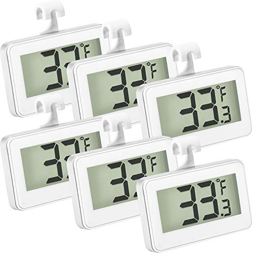 Refrigerator Thermometer Digital Freezer Thermometer Room Fridge Thermometer LCD Display Waterproof Freezer Thermometer with Hook for Temperature Reading(6 Pieces)